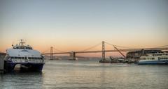 Ferry & Bay Bridge at Sunset (neilalderney123) Tags: sanfrancisco california sunset water ferry landscape baybridge 2016neilhoward