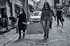Street 113 (`ARroWCoLT) Tags: street two people art car sunglasses table photography candid young istanbul human photograph masa carry iki arnavut sokak skdar kaldrm