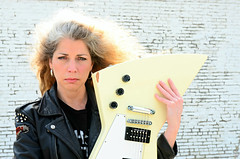 The Day Marynell Dropped her Gibson (Studio d'Xavier) Tags: portrait musician guitar disaster crunch dropped heartbroken gibsonexplorer 365outtake marynellhardin