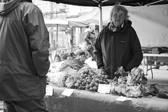 Vegetable Stall (Alexander Jones - Documentary Photography) Tags: street white black west monochrome swansea wales photography nikon market candid south documentary uplands d3000