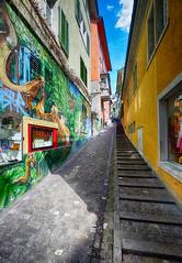 Colorful Alley in Zurich, Switzerland (` Toshio ') Tags: city sky clouds graffiti switzerland alley colorful europe european cityscape zurich steps toshio xe2 fujixe2