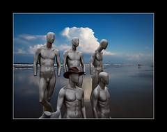Dummies on vacation (tkimages2011) Tags: sea vacation sky holiday beach water hat clouds spain mediterranean dummies mannequins florida surreal fantasy catalunya dummy carbootsale carboot celra butlerbeach