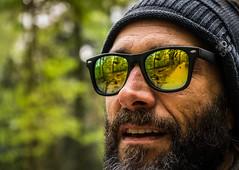 Sunglasses Series II. (neerod81) Tags: portrait man green sunglasses reflections bokeh outdoor portrt mann sonnenbrille spontaneous afriend spiegelungen heandhisdog