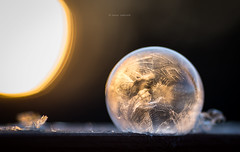 Fire and ice (llakstedt) Tags: morning winter sun ice nature sunrise canon ball finland frozen freezing bubble goldenhour 135l frozenbubble frozenbuble canon6d