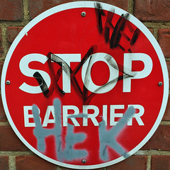 STOP BARRIER (Leo Reynolds) Tags: xleol30x squaredcircle iphoneography iphone 5s iphone5s xxgeotaggedxx sqset123 sign xx2015xx sqset
