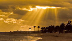 The sky opens (Hernan Piera) Tags: sunset sea espaa beach sunshine clouds atardecer photography mar photo spain sand mediterranean mediterraneo foto image cloudy playa pic arena photograph nubes nublado rays puestadesol fotografia imagen marbella fotografo rayos rayosdesol hernanpiera