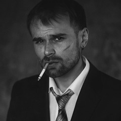 Self (ivankopchenov) Tags: portrait blackandwhite man black self cigarette naturallight classicalportrait