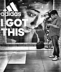 I Got This (-Faisal Aljunied - !!) Tags: blackandwhite monochrome streetphotography advertisement adidas juxtapose igotthis iphoneography iphone6 faisalaljunied