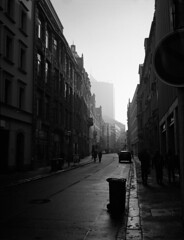 down the street (anfenglin) Tags: blackandwhite 120 film mediumformat 645 analogue fujiga645 kodaktrix400 ilfordddx filmism epsonv500 selfdevelopedfilm