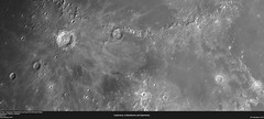 Copernicus, Eratosthenes and Apennine Mountain Range (alastair.woodward) Tags: sky blackandwhite cloud moon abstract mountains texture monochrome night outdoor budget space derbyshire surface craters mount goto 130 lunar derby barlow copernicus pds apennine eratosthenes skywatcher heq5