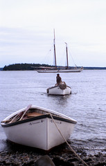 Sch Adventure wBoats at Butter Island ME 8-28-1986mrf1 (ironmike9) Tags: ocean sea water island bay coast boat seaside ship maine vessel adventure shore sail seashore schooner seacoast butterisland