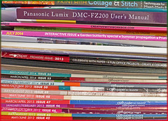 Hoarding ... (Lovetostitch) Tags: colours selection books stack hoard magazines titles 116for2016 23of116