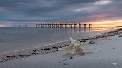 Starry sunset (ursulanoircent) Tags: mer seascape beach de landscape coast starfish cte paysage plage toile cloudsstormssunsetssunrises