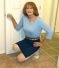 Blue Blouse (bobbievnc) Tags: hair highheels skirt blouse tgirl heels redhair pantyhose crossdresser shortskirt blackskirt tightskirt whitepantyhose pantyhoselegs blueblouse