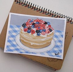 39/366 (Annie_Karpiak) Tags: food art illustration pancakes painting artwork strawberry berries blackberry cream blueberry cranberry gouache 1page1day
