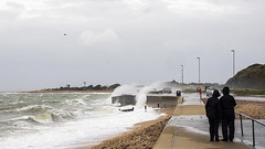 Stormy Stokes Bay Sea Front 3 of 3 (fstop186) Tags: road sea wild people seascape storm wall landscape high dangerous closed waves candid silhouettes stormy olympus spray blocked henry solent imogen winds walkers breaking crashing flooded gosport splashing em1 olympusmzuikopro1240mmf28