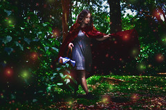 #ProjectNeverland: #RedRidingHood (TheJennire) Tags: light red portrait people cinema film luz girl fashion fairytale forest self dark hair cores movie photography book photo movement woods colours foto basket magic dream young makeup style colores littleredridinghood fantasy ethereal hood dreamy fotografia curlyhair redridinghood cabelo pelo cabello fireflies conceptualphotography tumblr projectneverland
