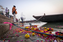 Morning prayer (karmajigme) Tags: travel flowers india color river religious nikon religion holy varanasi spirituality prayers ganga ganges