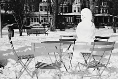 DR6-E094 (David Swift Photography Thanks for 16 million view) Tags: snow film 35mm chairs westphiladelphia parks streetphotography snowmen tables ilfordxp2 clarkpark victorianhouses streetscapes emptychairs yashicat4 davidswiftphotography