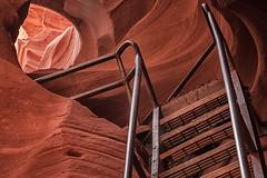 Lower Antelope Canyon Ladder - 38 (JohnColeUSA) Tags: red orange geometric nature colorful desert angles az ladder rockwall americanwest slotcanyon antelopecanyon southwestusa striations navaho pageaz metalladder lowerantelopecanyon linesabstract