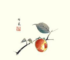 Japanese persimmon (Japanese Flower and Bird Art) Tags: flower art japan print japanese persimmon woodblock nihonga kaki diospyros domoto ebenaceae insho readercollection