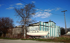 Dry Dock (jpmatth) Tags: color sailboat digital canon eos boat lenstagged illinois turquoise stripes dry mk2 5d parked trailer docked 2016 harvel prairieland ef35mm20