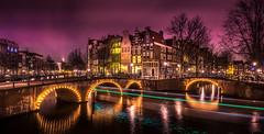 Keizersgracht (miguel_lorente) Tags: street city longexposure bridge trees houses windows light water netherlands amsterdam night canal cityscape bikes trail keizersgracht