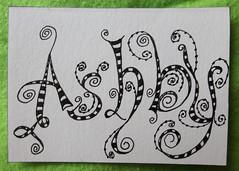 Tangles Names Ashby 1 (purple_24) Tags: atc name arttradingcard swapbot zentangle zendoodle