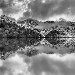 Landscape In White & Black (jeanmarie shelton) Tags: trees sky blackandwhite bw mountain nature clouds reflections landscape outdoors nikon mirrorimage lightroom jeanmarie innamoramento jeanmariesphotography jeanmarieshelton