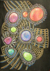 Traditional Jewelry (molossus, who says Life Imitates Doodles) Tags: sakura gellyroll zentangle pentalic zendoodle zentangleinspiredartwork