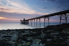 Reaching out (gregoryphoto150) Tags: uk sunset sea sky seaweed beach water metal architecture clouds landscape lights pier rocks legs somerset pebbles structure clevedon