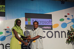 Microsoft Innovation Awards Winner in the Gender Youth and Vulnerable Groups is Nairobits Trust. Presented to Rukia Abdalla