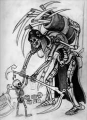 Joyful givings from the mechanical merchant of death sketch (ashley russell 676) Tags: illustration pencil skeleton death sketch reaper drawing anatomy merchant dealer fetal scythe graim