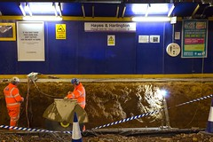 Preparing for Crossrail at Hayes & Harlington Station (LFaurePhotos) Tags: life london station night construction platform railway menatwork trainstation hayes firstgreatwestern westlondon transportforlondon crossrail harlington londonboroughofhillingdon