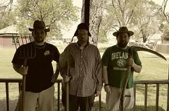 American Gothic, Missouri style (yetanotherstephanie) Tags: spring backyard hats missouri porch brothersinlaw grandmashouse justforfun scythe mobilephotography trentonmissouri garagetreasures galaxys6 missourigothic