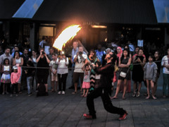 Street Preformer @ Old Montreal (Mobile_Jay) Tags: street red people urban canada fire artist quebec torches montreal performance flame buskers actress actor entertainer oldmontreal swinging busking artiste thespian