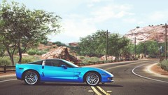 Color of Freedom (polyneutron) Tags: blue sky chevrolet car photography depthoffield videogame corvette needforspeed supercar c6 nfs zr1 hotpursuit photomode hp2010