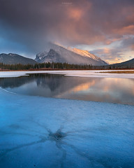'Spider Cracks' Banff National Park (Gavin Hardcastle - Fototripper) Tags: park sunset cold colour reflection ice clouds rockies melting warm mt lakes canadian national alberta banff cracks vermillion rundle gavinhardcastle fototripper