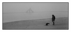 (Oeil de chat) Tags: bw mer film canon solitude hiver nb hp5 plage canonet ilford ql17 brouillard saintmalo brume tristesse argentique panoramique mlancolie
