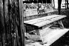 On the seventh day... (lucas2068) Tags: park parque blackandwhite bw blancoynegro bench god text banco bn write genesis dios texto