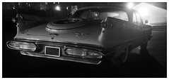 1958 Imperial Crown Coupe (daveelmore) Tags: bw car blackwhite automobile tail bumper chrome 1958 imperial vehicle chrysler fins stitchedpanorama imperialcrowncoupe lumixleicadgsummilux25mm114