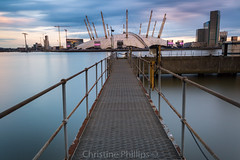 London O2 Arena slow as the sun sinks on a stormy day - The river Thames as smooth as silk (Christine's Observations) Tags: sun london rain thames clouds reflections pier amazing soft jetty united phillips o2 surreal christine millennium arena dome kingdome sily