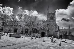 Church of St Mary the Virgin (David Feuerhelm) Tags: england history church monochrome graveyard clouds nikon village dramatic wideangle oxfordshire d7100