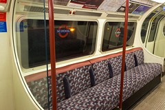 1972 Stock Bakerloo Line new moquette (LFaurePhotos) Tags: life london night train interior newspapers railway seats londonunderground middlesex deserted thetube upholstery moquette kenton bakerlooline 1972stock