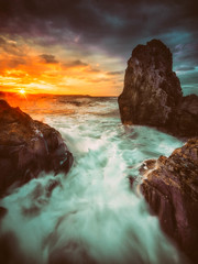 Empyreal Flux (Timothy Gilbert) Tags: beach water sunrise dawn rocks cornwall tide wideangle boulders whitsandbay ultrawide hdr portwrinkle breathtakinglandscapes gx7 olympus918mmf4056