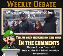 WEEKLY DEBATE- Who's the Best Member of Team Cap? (Luigi Fan) Tags: man america team war iron civil cap captain marvel universe cinematic