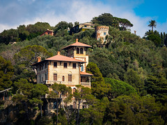 What a place to live - Porto Fino Italy (Sebastian Bayer) Tags: italien trees houses vacation sky italy house holiday tower ferry mediterranean ship outdoor liguria urlaub himmel haus turm portofino bume dreamscape mediterran huser ligurien drausen shipride santamagheritaligure