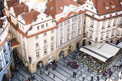 view from V (ian.latte) Tags: leica city travel tower rooftop outside 50mm restaurant view prague outdoor tourist lookdown czechrepublic oldtownsquare leicam