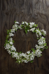 WhiteCherryBlossom-800PX-SimiJois-2016_edited-1 (Simi Jois) Tags: flowers white country rustic wreath cherryblossoms woodenboard