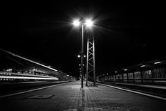at the station VIII (Zesk MF) Tags: light bw white black train dark db line trail lantern 8mm trier nachts schienen longtime langzeit zesk momement railpassion